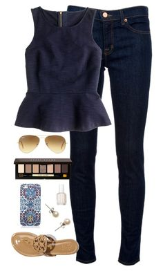 """""""dressy casual"""" by classically-preppy ❤ liked on Polyvore featuring J Brand, Tory Burch, J.Crew, Ray-Ban, Bobbi Brown Cosmetics, Essie, women's clothing, women, female and woman"""
