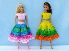 Crochet Barbie Clothes, Crochet Dolls, Knit Crochet, Doll Dress Patterns, Clothing Patterns, Free Barbie, Barbie Dress, Crochet Fashion, Diy Clothes