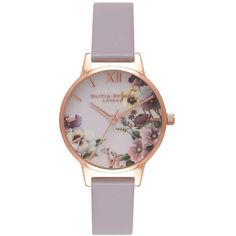 Women's Olivia Burton Begin To Blush Leather Strap Watch, 30Mm ($110) ❤ liked on Polyvore featuring jewelry, watches, leather-strap watches, charm jewelry, olivia burton watches, dial watches and charm watches