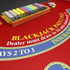 casino blackjack table 3d model