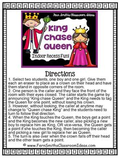 King Chase Queen Game for Some Terrific Indoor Recess Fun! Fern Smith's Classroom Ideas King Chase Queen Printable Direction Sheet for Your Classroom. Indoor Recess Games, Indoor Games For Kids, Indoor Activities, Summer Activities, Movement Activities, Outdoor Games, Gym Games For Kids, Morning Activities, Youth Activities