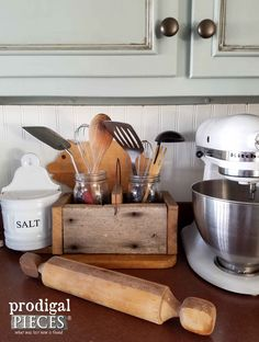 DIY Wooden Kitchen Caddy from Reclaimed or New Wood ~ Tutorial by Prodigal Pieces   prodigalpieces.com