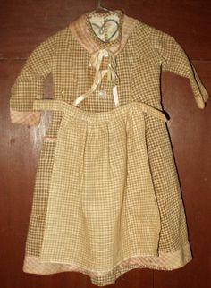 Victorian brown check homespun doll dress and apron.