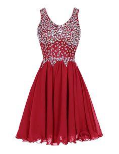 Tideclothes Chiffon Straps Prom Dress Short Beading Evening Party Dress Black2
