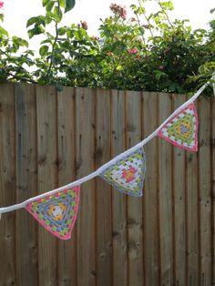 crochet granny bunting flags