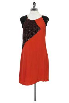 French Connection- Orange Sequin Dress Sz 8 | Current Boutique