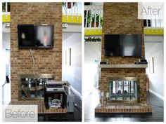Install a floating mantle on a brick fireplace - $20 DIY project