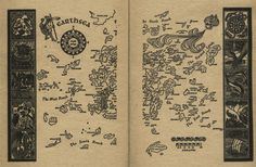 Earthsea from the Earthsea Chronicles by Ursula K. LeGuin:  Here's the map that appears in A Wizard of Earthsea, the first book in the Earthsea series. It's about a world made up of a series of islands, where magic is a fact of life, the land of the dead is a real place, and young women are sometimes dragons. The series began as a set of young adult novels, but the later books are more like adult fantasy novels.  http://karapaia.livedoor.biz/archives/52125773.html