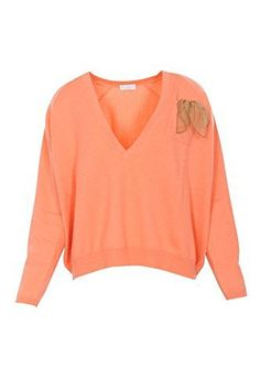 Product review for Brunello Cucinelli Pullover Women's Orange Loose Fit Cashmere Casual L IT.  Details Brand: Brunello Cucinelli Made in: Italy Pattern Type: knitted Lifesytle: Casual Color: Orange Additional Color: Neckline: V Neck Collar Style: V-Neck Fit Type: Loose Fit Sleeve Type: Long Sleeve Closure Type: Fastening: No Closure Features: breast pocket,Eco Finish Application brass...