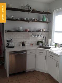 27 Trendy Kitchen Layout Ideas With Corner Sink Dishwashers Corner Sink Kitchen, Diy Kitchen, Kitchen Decor, Kitchen Cabinets, Kitchen Shelves, Kitchen Ideas, Kitchen Small, Country Kitchen, Kitchen Interior