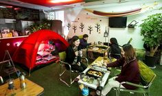 Camping Cafe in Hongdae, Seoul.  Hey how about this version of camping?? Lol