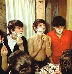 The Beatles shaving
