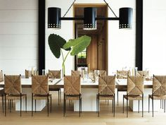 beach dining room // black and white // seagrass chairs // Long Island contemporary