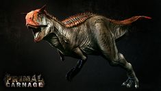 The Carnotaurus is one of the playable Characters in the PVP dino game, Primal Carnage. Godzilla, Primal Carnage, Komodo Dragon, Spinosaurus, Jurassic Park World, Dinosaur Art, Fantasy Monster, Prehistoric Creatures, 3d Character