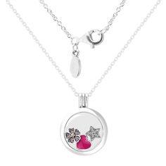 Medium Floating Locke Silver Necklace With Flower Star Heart Petites 925 Sterling Silver Pendants for Women DIY Fine Jewelry
