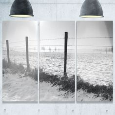 DESIGN ART Landscape in Snow with Fence - Oversized Beach