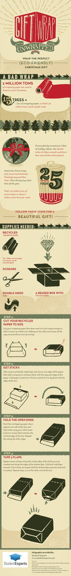Is your gift-wrapping technique sloppy? Do you buy new paper and boxes each year, only to see them end up in the trash days later? Learn how to wrap a gift beautifully— while cutting down on cardboard and paper waste—in this infographic! Gift Wrapping Techniques, Trash Day, Father Quotes, Charts And Graphs, Event Management, Project Management, Simple Gifts, Science And Nature, Little Sisters