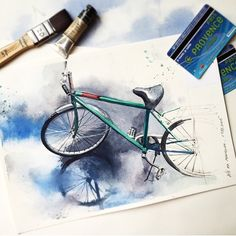 Image in art 🎨 collection by EsRaa.O on We Heart It Watercolor Paintings For Beginners, Watercolor Drawing, Watercolor Illustration, Painting & Drawing, Bicycle Illustration, Cool Art Drawings, Art Drawings Sketches, Bicycle Art, Art Design