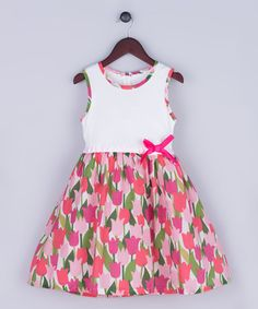 This White & Pink Tulip Bow Dress - Kids is perfect! #zulilyfinds