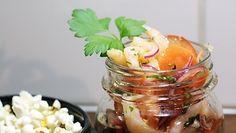 Fressi ja herkullinen alkupala, katkarapuceviche, tuo mieleen etelän lämmön ja latinorytmit. Ceviche, Cantaloupe, Fruit, Food, Eten, Meals, Diet