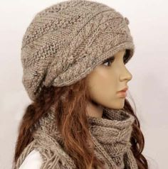 Wool Slouchy Woman Handmade Knitting Hat And Scarf Set - Light Brown on Luulla