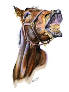 Laughing Bay Horse Art Print of Watercolor by EquineTreasures, $15.00