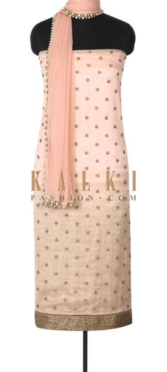 Buy this Pink unstitched suit adorn in sequin and kardana border only on Kalki
