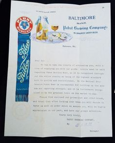Early 1900's Letterhead Order Blank Price List Pabst Brewing Baltimore Oysters