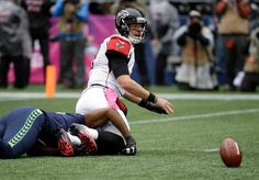 Falcons vs. Seahawks:    October 16, 2016  -  26-24, Seahawks  -    Atlanta Falcons quarterback Matt Ryan (2) watches his fumble that was forced by Seattle Seahawks defensive end Cliff Avril, left, in the first half of an NFL football game, Sunday, Oct. 16, 2016, in Seattle. The Seahawks recovered the fumble.