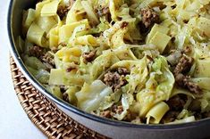 Italy meets Poland in this delicious Easy and Quick Halushki (cabbage and noodles) when you swap the bacon for Jville Ground Mild Italian sausage. Via Peterson Peterson Schiro Kitchen Adventures with Cabbage And Noodles, Cabbage And Bacon, Cabbage Recipes, Beef Recipes, Cooking Recipes, Egg Noodles, Cabbage Meals, Fried Cabbage, Easy Recipes