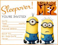 Despicable Me 2 - sleepover party invitation - free - on a site with 1000s of others!