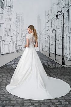 Justin Alexander Lace Bodice with Short Sleeves and Silk Floor Length Ball Gown Skirt Wedding Dress Styles, Bridal Dresses, Wedding Gowns, 2017 Wedding, Justin Alexander Bridal, Tea Length Skirt, Sophisticated Bride, Bridal Boutique, Beautiful Gowns