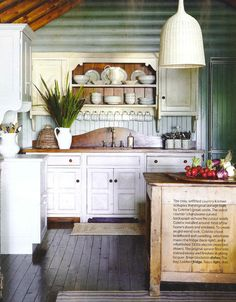 kitchen and dresser and lampshade