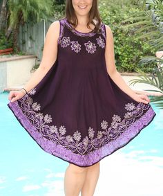 Look what I found on #zulily! Ananda's Collection Purple Embroidered Floral Sleeveless Dress - Plus by Ananda's Collection #zulilyfinds