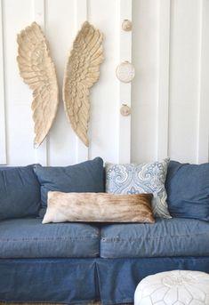oxford sofa 100% blue denim cotton down cushions / 8 way hand tied