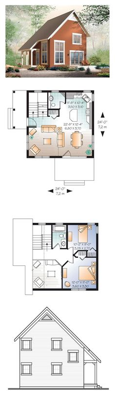 Narrow Lot House Plan 76149 | Total Living Area: 1050 sq. ft., 2 bedrooms and 1.5 bathrooms. Cathedral ceiling in the living room. Kitchen with central island. The staircase is close to the entry for an easy access to the basement. #houseplan #narrowlot: