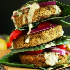 Healthy, 7 Ingredient V GF Falafel Burgers! Simple, flavorful, perfect with pita, greens or atop a salad!