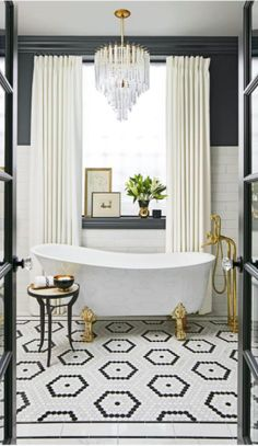 Black and white floors make such a strong statement ~
