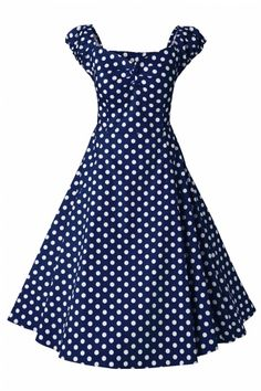 Collectif Clothing - 50s Dolores Doll dress Navy White polka swing dress