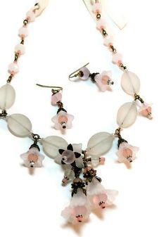 lucite flower jewelry ideas   Vintage Style Slightly Pink, Lots of White sea Glass and Lucite Flower ...