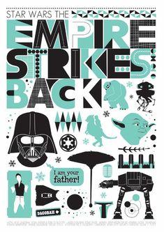 The Empire Strikes Back - Retro Scandinavian style poster. Jan Skácelík