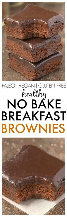 Healthy No Bake BREAKFAST Brownies- Loaded with chocolate and super fudgy, these wholesome brownies have NO butter, NO oil, NO grains and NO sugar! {vegan, gluten free, paleo recipe}- thebigmansworld.com - Repinned by cookingwithporn.com