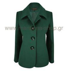 Σακάκι γυναικείο. Είναι απο παλτούφασμα με γιακά και κουμπώνει με κουμπιά. Μήκος απο τον ώμο 67εκ., μήκος μανικιού 61εκ.80%pol-18%viscose-2%span.Ελληνική ραφή. Blazers, Coat, Jackets, Shopping, Fashion, Down Jackets, Moda, Sewing Coat, Fashion Styles