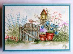 Art Impressions Wonderful Watercolor: Handmade card wtih wood fence, bird, birdhouse, flowers, pot, grass, flowers, foliage