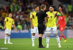 Radamel Falcao and Carlos Bacca of Colombia argue with Referee Mark Geiger during the 2018 FIFA World Cup Russia Round of 16 match between Colombia. Carlos Valderrama, Referee, Fifa World Cup, Russia, Soccer, Sports, Colombia, Hs Sports, Futbol
