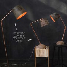 Pulp, Copper and Soapstone light by Quazi Design, handmade in Swaziland