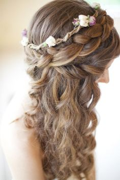 bohemian hair. can't decide between leaving some of my curly length out. This is perfect with the thick braid.
