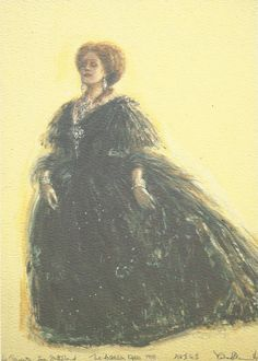 Design for Violetta Act II Sc II (Flora's salon); Dame Joan Sutherland. La Traviata, the Australian Opera 1978.