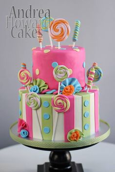Pink, Aqua Sage Polka Dot and Stripes Candy Cake Lollipop Cake, Cupcake Cakes, Cupcakes, Girly Birthday Cakes, Birthday Ideas, Beautiful Cakes, Amazing Cakes, City Cake, Sweet 16 Cakes