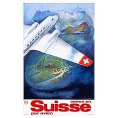 Suisse, Par Avion, Vintage Poster Poster